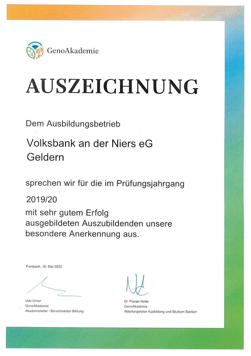 Auszeichnung der RWGA für Ausbildungsleistung